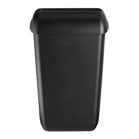 Quartz black afvalbak met open inworpklep, 23 liter