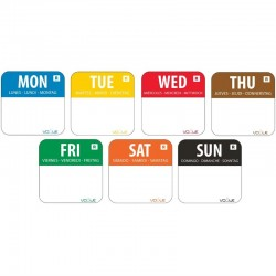 """Dispenser voedsel labels """"Dag van de week"""" stickers (7 x 1000 stuk) HACCP"""