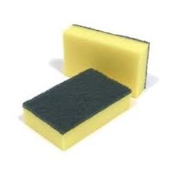 Schuurspons ca. 140x90x28 mm geel / groen (50 set à 10 stuks)