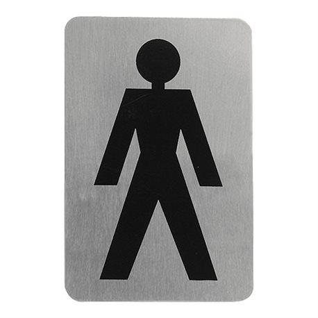 Pictogram tekstplaatje toilet Heren